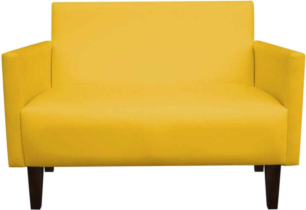 Sofá Retrô Namoradeira Compacta Jade 2 Lugares Corino Amarelo - D'Rossi