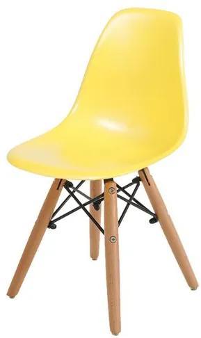 Cadeira INFANTIL Eames Polipropileno Amarelo com Base Madeira - 40606 Sun House