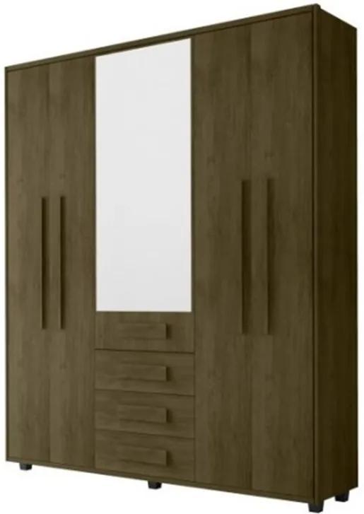 Guarda-Roupa Casal Com Espelho 5 Portas 3 Gavetas Las Vegas III Imbuia – RV Móveis