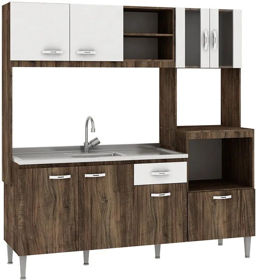 Cozinha Compacta Tati 8 Portas Sem Tampo Naturalle/Branco - Fellicci