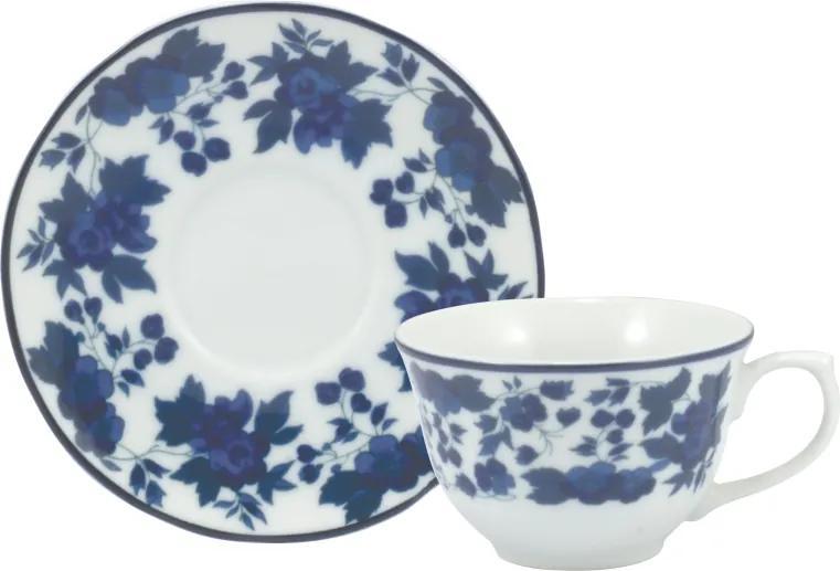 Xicara Café com Pires Porcelana Real by Schmidt - dec. Folhagem