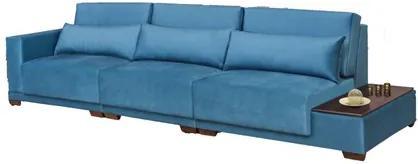 Sofá 4 Lugares 335 cm San Pietro Suede Azul Savana - Eccenziale