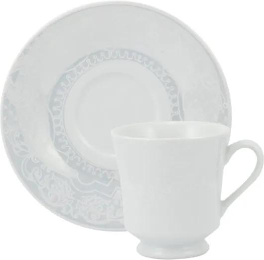 Xícara Chá com Pires 200 ml Porcelana Schmidt - Dec. Arabesco