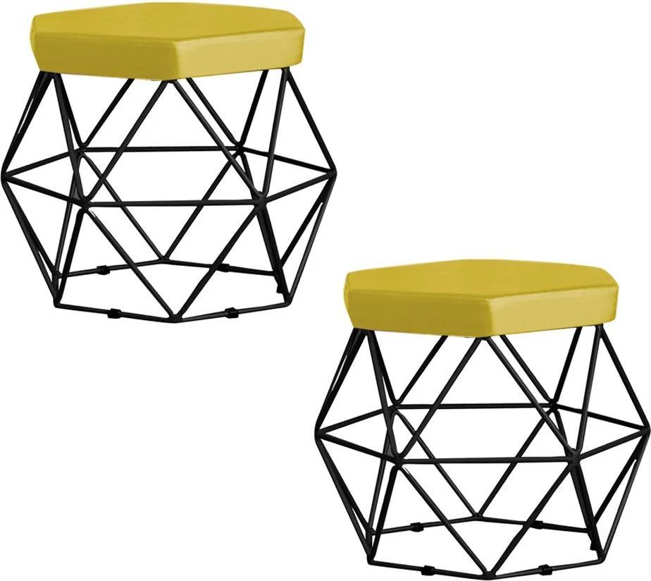 Kit 2 Puff Decorativo Base Preta Elsa Suede Amarelo - Gran Belo