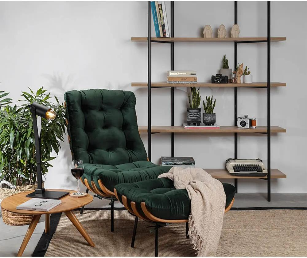 Poltrona Costela com Encosto Alto e Puff – Veludo Verde