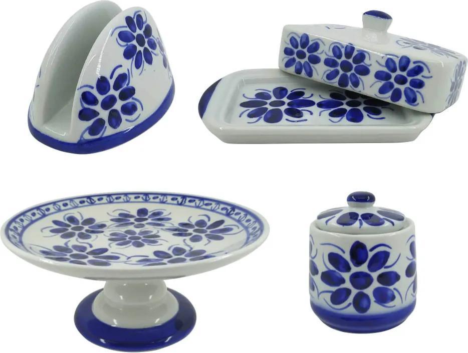 Kit para Café da Manhã em Porcelana Azul Colonial 4 peças