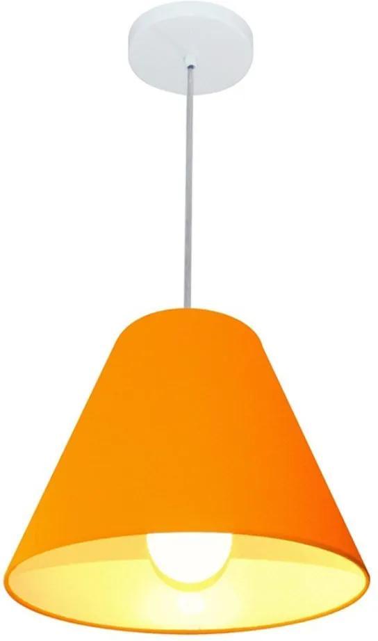 Lustre Pendente Cone Md-4028 Cúpula em Tecido 25/30x12cm Laranja - Bivolt