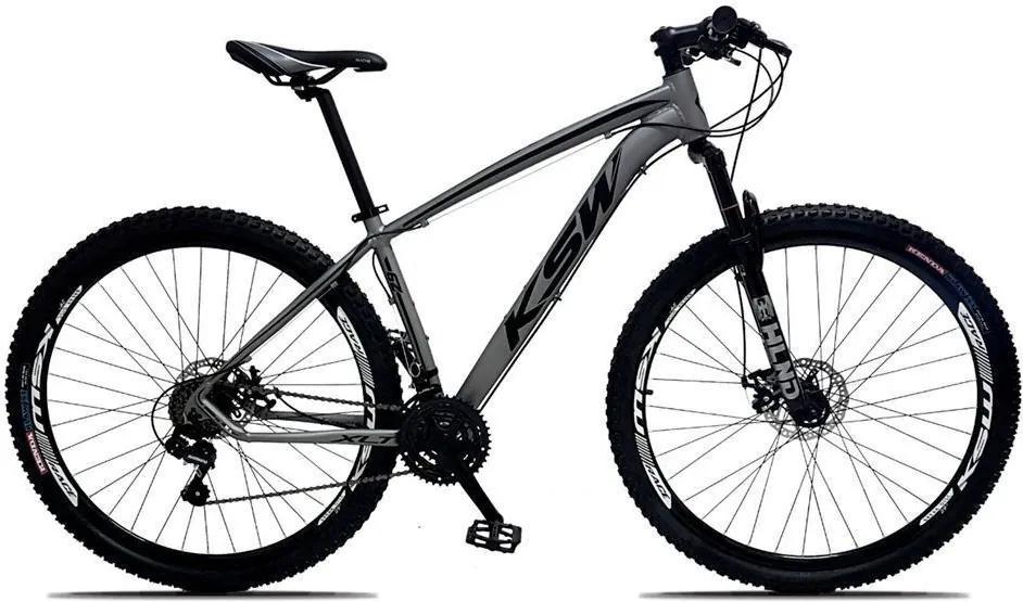Bicicleta XLT Aro 29 Freio a Disco Suspensão 21 Marchas Quadro 17 Alumínio Cinza Preto - KSW