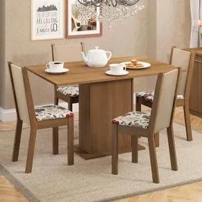 Conjunto Sala de Jantar Madesa Talita Mesa Tampo de Madeira com 4 Cadeiras Rustic/Crema/Floral Hibiscos Cor:Rustic/Crema/Hibiscos