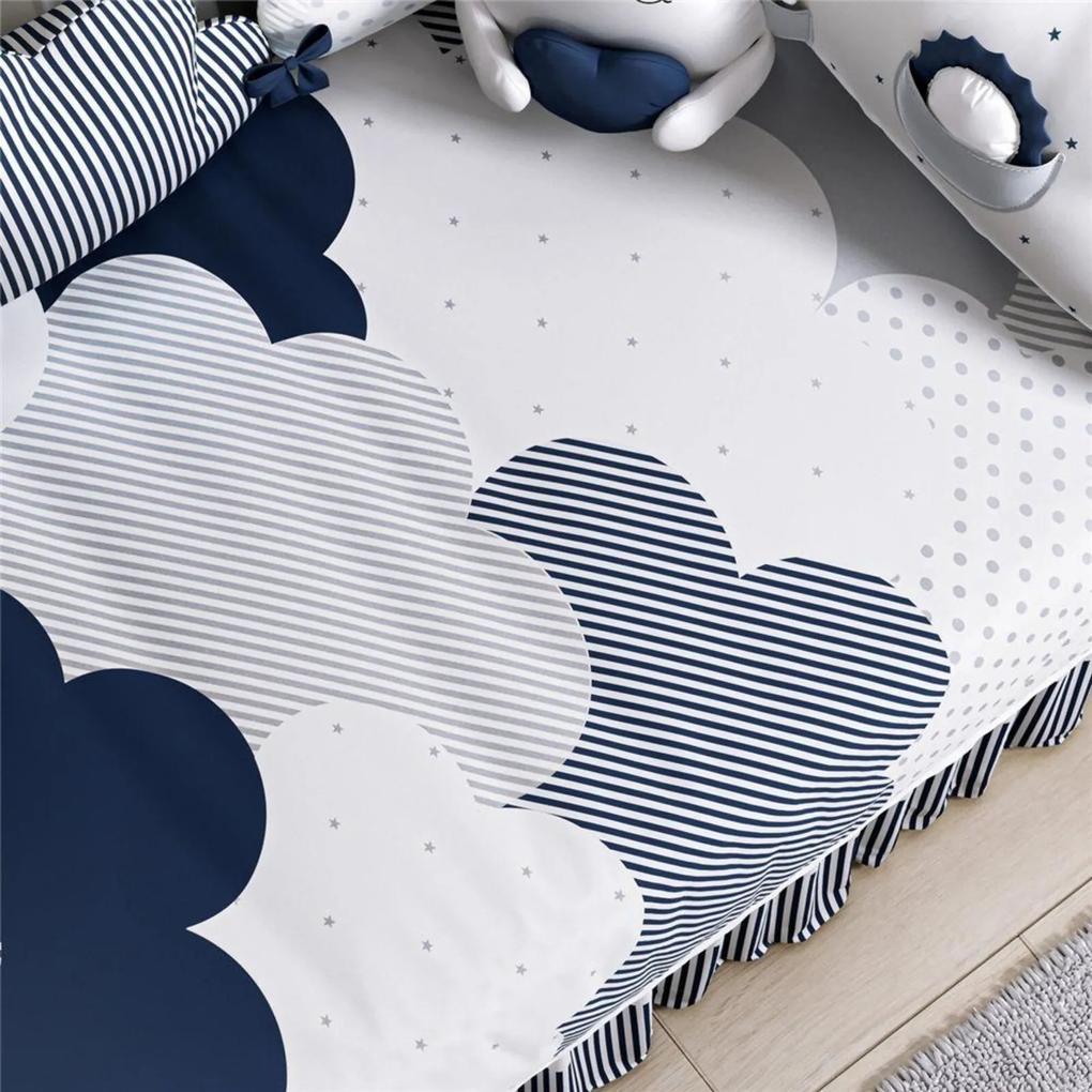 Edredom Bebê Nuvem de Algodão Azul Marinho Grão de Gente Azul