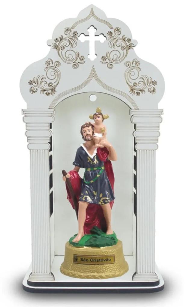 Capela 34 cm Com Imagem São Cristóvão Inquebrável