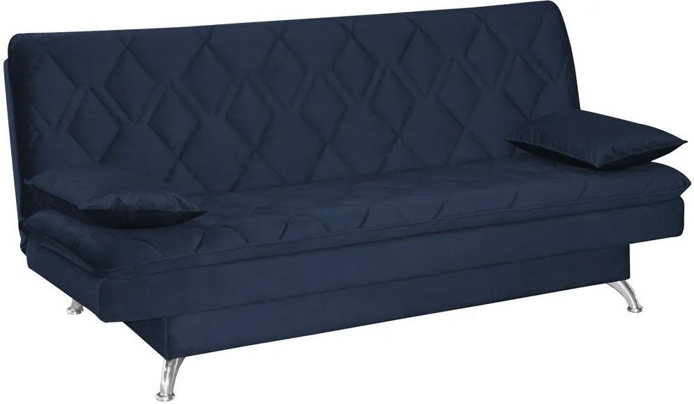 Sofá Cama Sala de Estar 193cm Belinda com Pés Alumínio Veludo Azul Marinho - Gran Belo