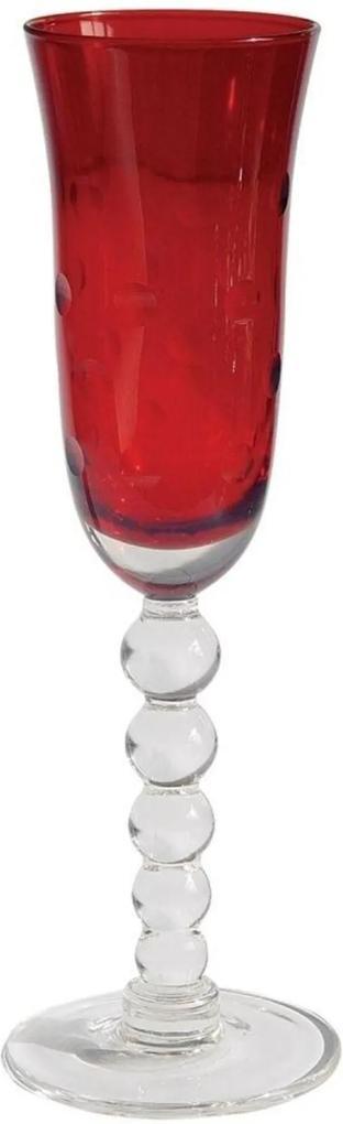 Taças De Champangne Em Vidro Vermelho 190Ml 6 Peças