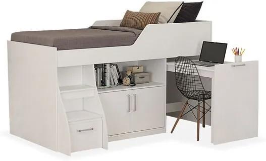 Cama Amariles com armário 2 portas de abrir, escrivaninha, gavetão e escada - Reversível - Para colchão 1,88x0,88, Padrao - Branco