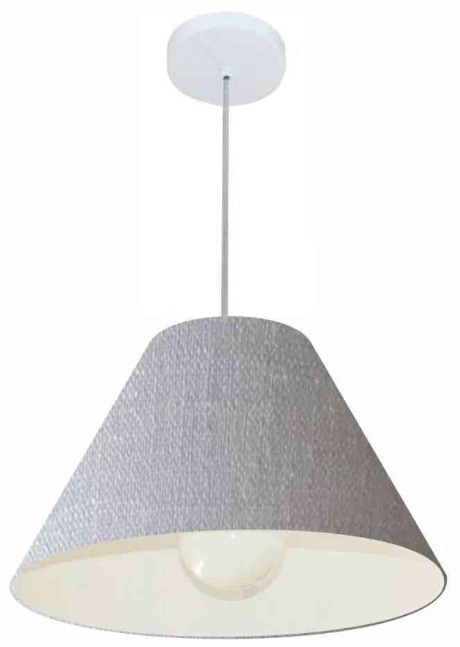 Lustre Pendente Cone Md-4078 Cúpula em Tecido 25/40x15cm Rustico Cinza - Bivolt