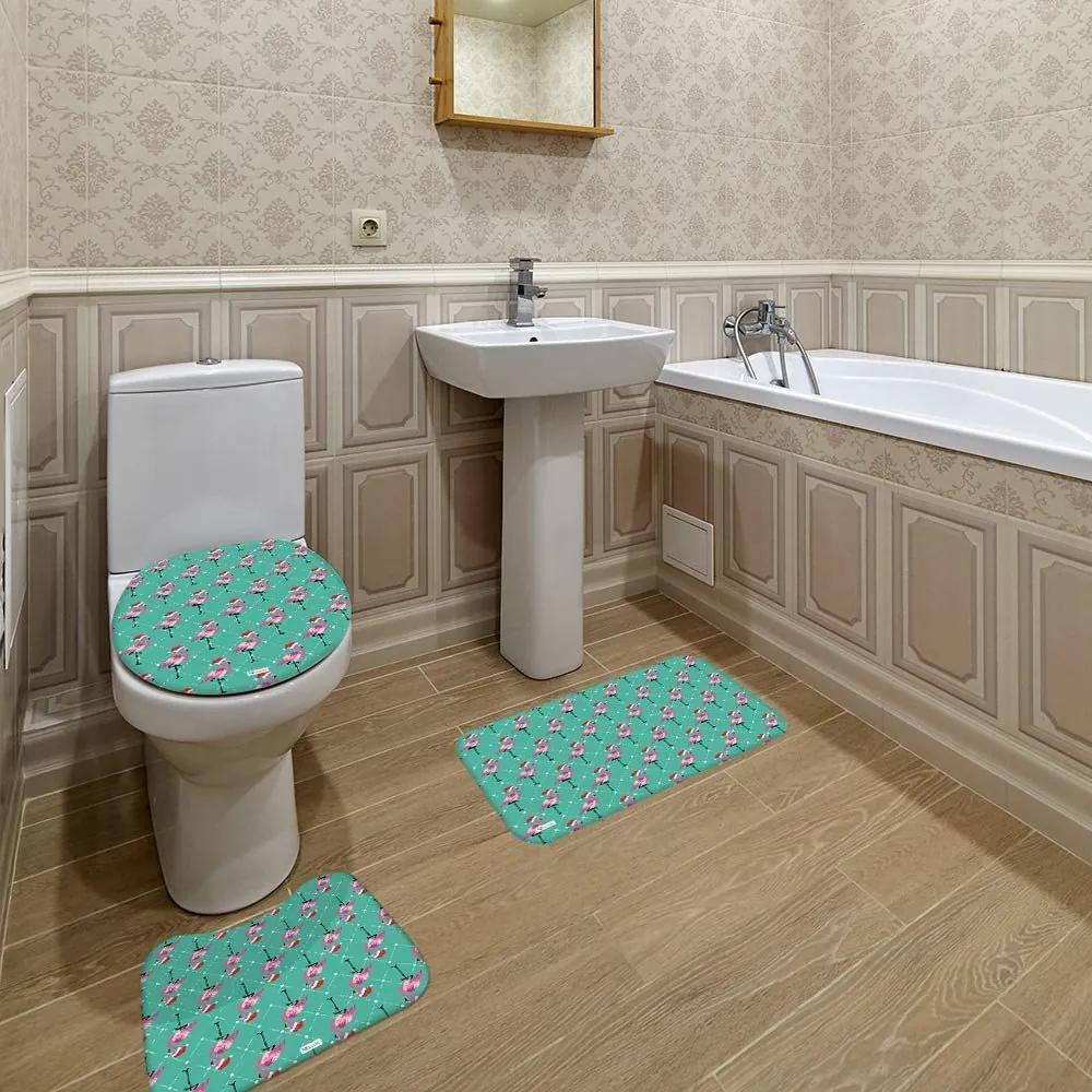 Jogo de Banheiro Natal Flamingo VerdeÚnico