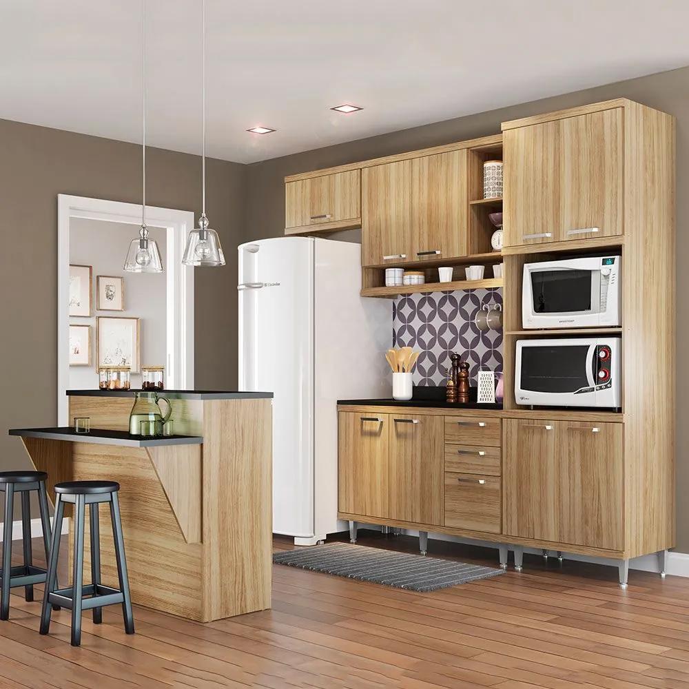 Cozinha Compacta Com Tampo 12 Portas 5844 Argila - Multimóveis