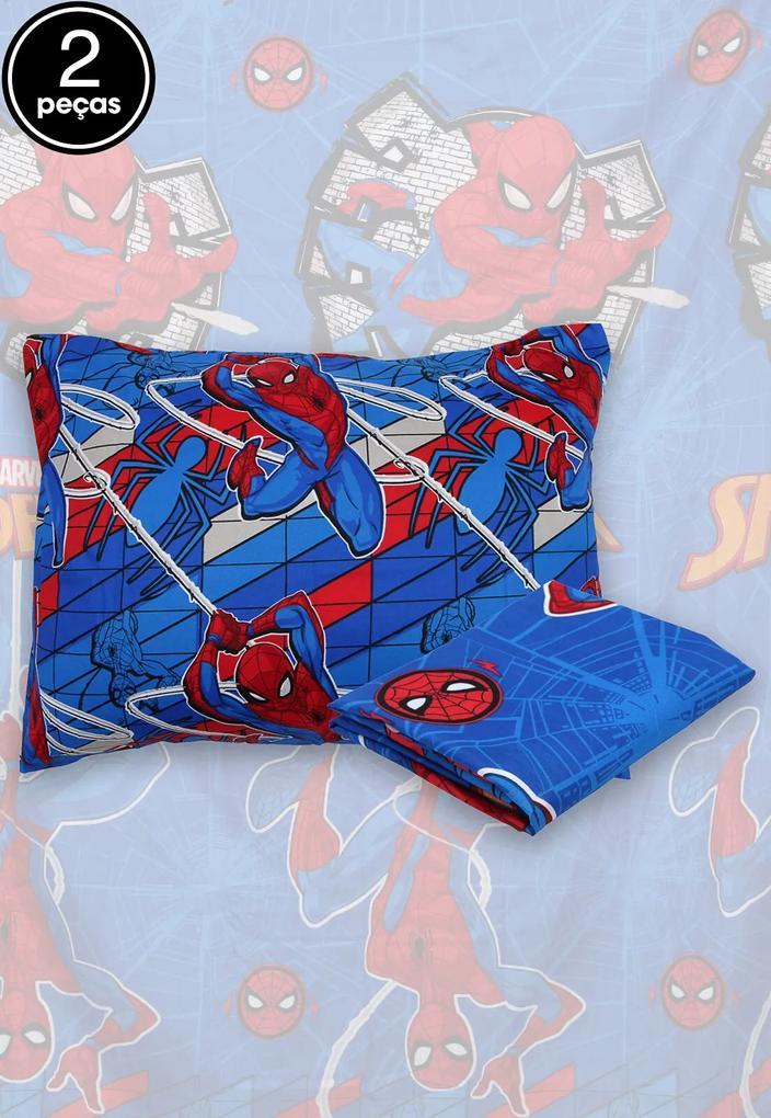 Jogo de Cama Solteiro Lepper 2Pçs Spider Man 1,40 m x 2,20 m Azul