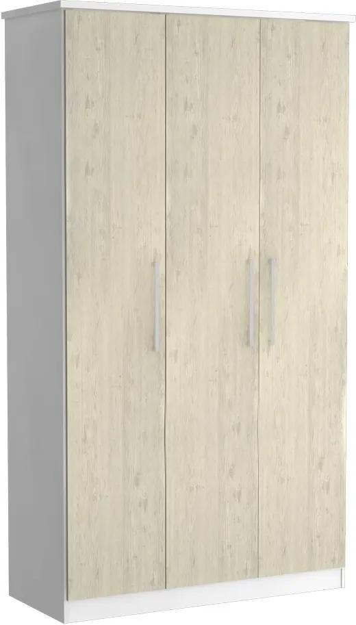 Guarda-Roupa Solteiro 3 Portas 100% Mdf 973 Branco/Marfim Areia - Foscarini