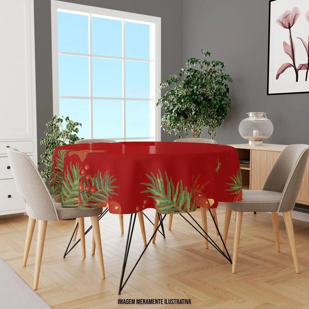 Toalha de Mesa Redonda Para 4 Lugares Folhas com Vermelho 1.45m Único