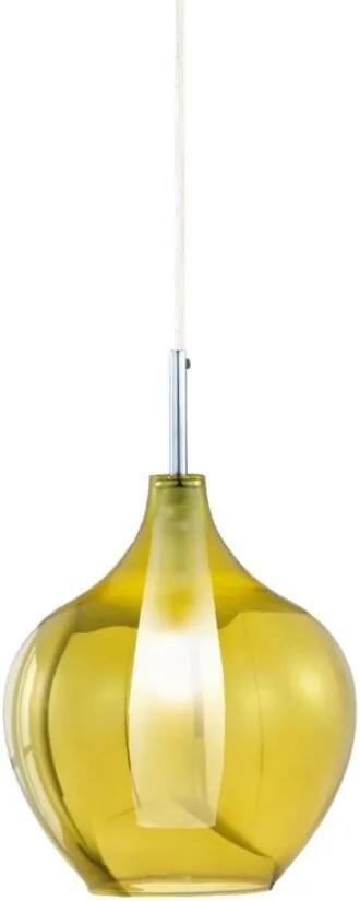 Pendente Mart Em Vidro Translucido Dourado E Interior Em Vidro Branco