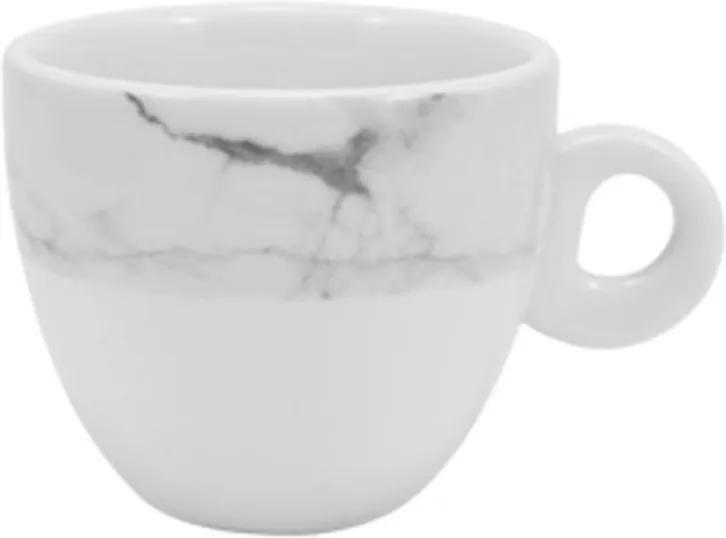 Xícara Chá com Pires 160 ml Porcelana Schmidt - Dec. Mármore Cinza