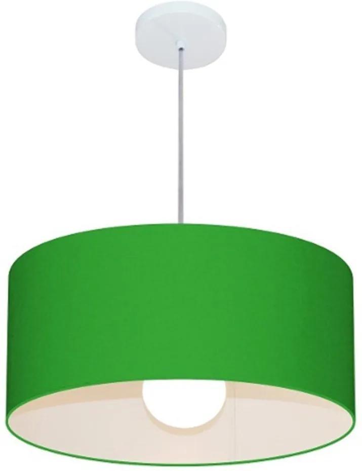 Lustre Pendente Cilíndrico 4052 Cúpula em Tecido 50x21cm Verde Folha - Bivolt