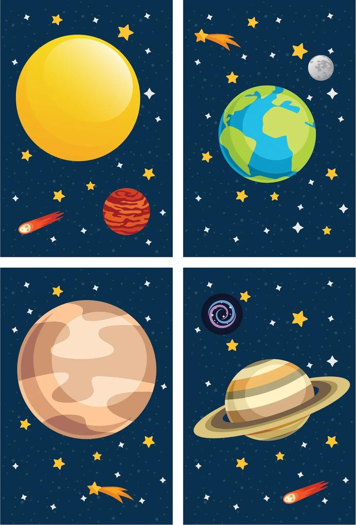 Placa Decorativa Infantil Sistema Solar Kit 4un 30x40cm