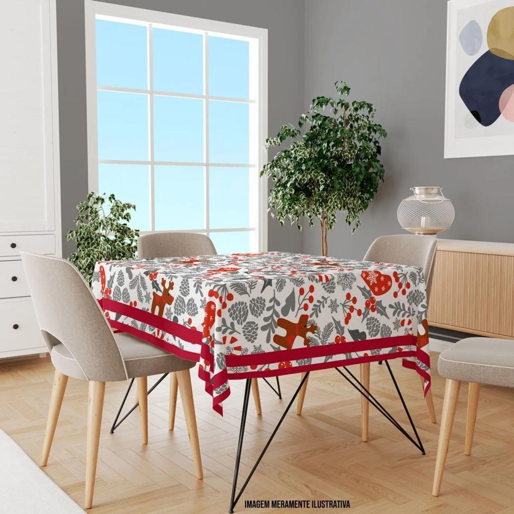 Toalha de Mesa Quadrada Para 4 Lugares Elementos Natalinos Vermelho e Cinza 1.45m x 1.45m Único