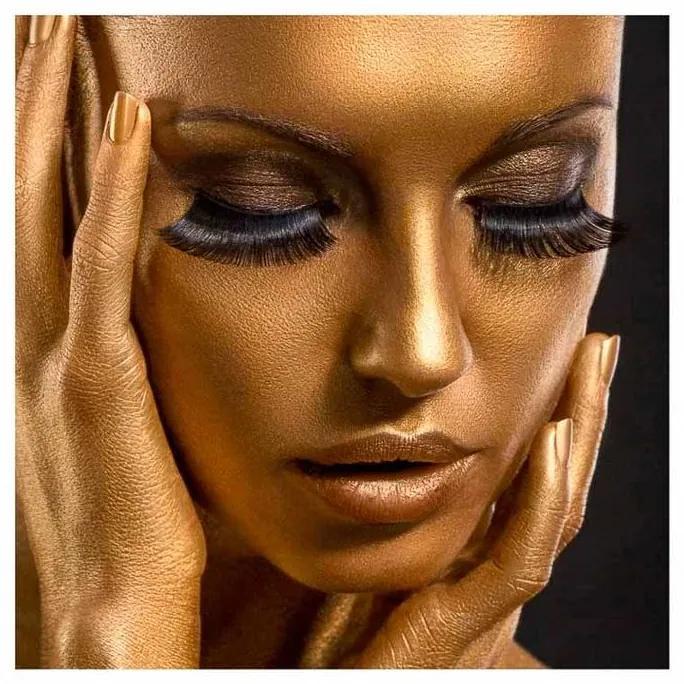 Quadro Decorativo Mulher Pensativa Dourado - KF 50053 30x30 (Moldura 520)