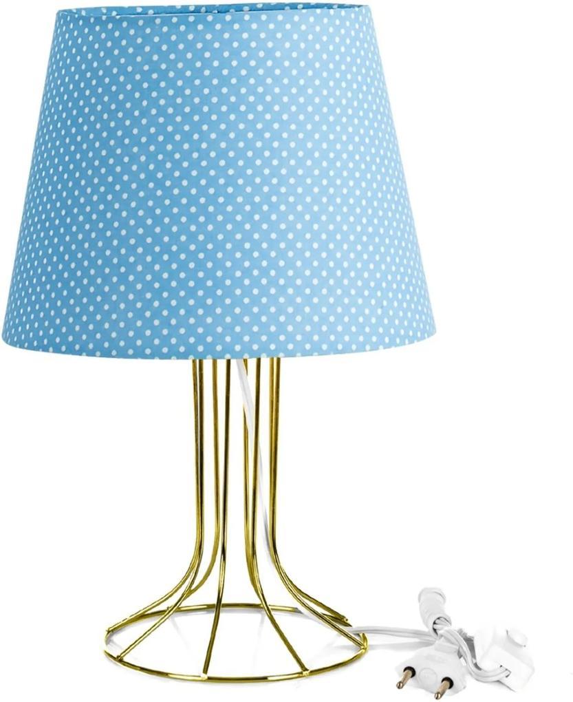 Abajur Torre Dome Azul/bolinha Com Aramado Dourado