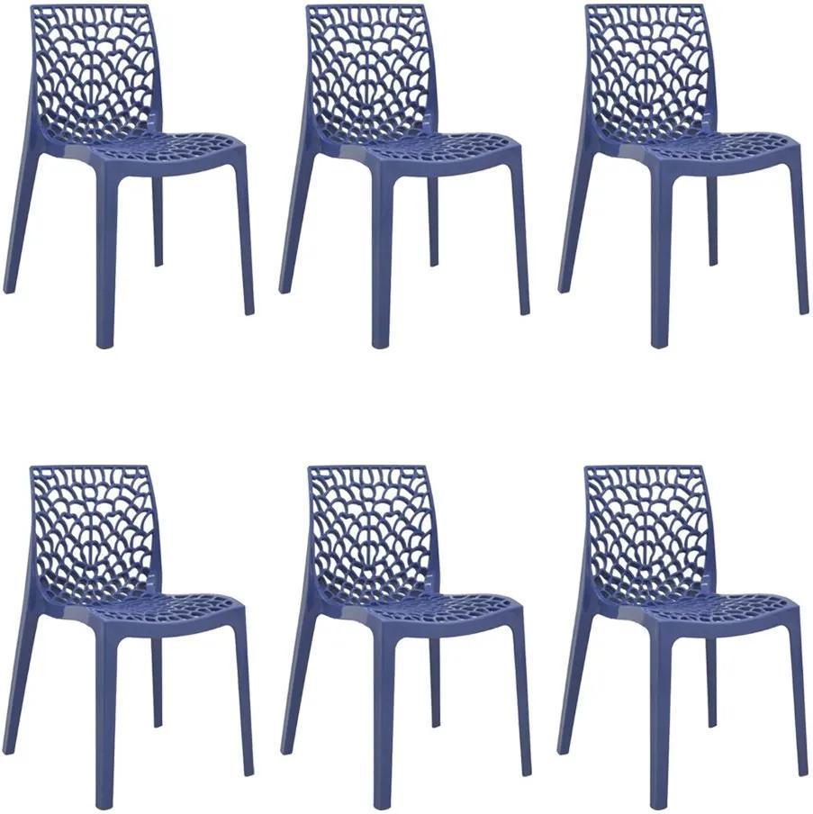 kit 6 Cadeiras Decorativas Sala e Cozinha Cruzzer (PP) Azul - Gran Belo