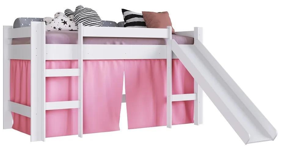 Cama com Escorregador BB1000 Branco/Rosa - Completa Móveis
