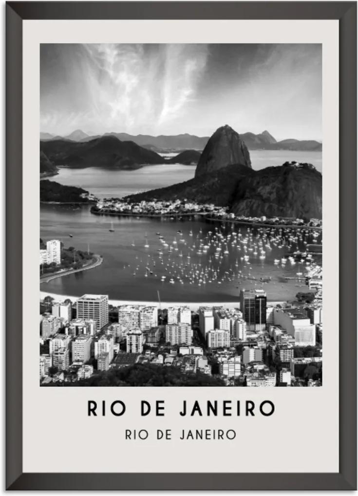 Quadro 65x45cm Cidades Rio de Janeiro Brasil Moldura Preta Com Vidro - Oppen House Decora