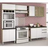 Cozinha Completa Modulada Melissa Carvalho Gris Tok Branco em MDF 6 Módulos Nicioli