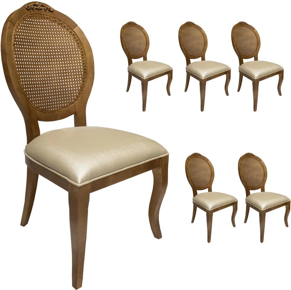 Jogo 6 Cadeiras Medalhão Lille Palha - Freijó - Tecido Facto Pérola Clássico Kleiner Schein
