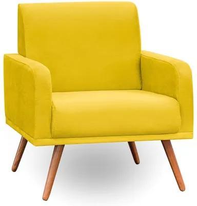 Poltrona Decorativa Pés Palito Carla Suede Amarelo - Mpozenato