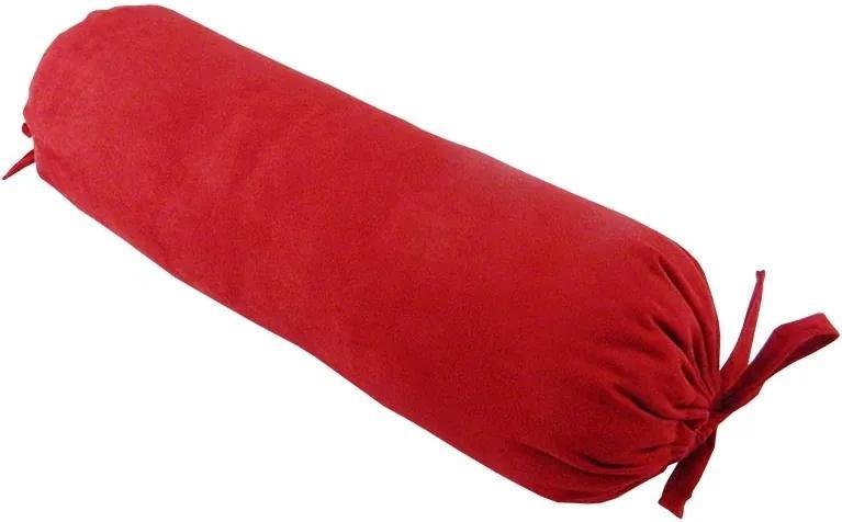 Almofada Rolinho Suede Vermelho 50X15Cm Cheio
