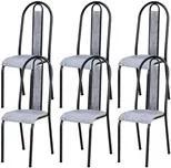 Kit 06 Cadeiras Tubular Cromo Preto 058 Assento Grafiato