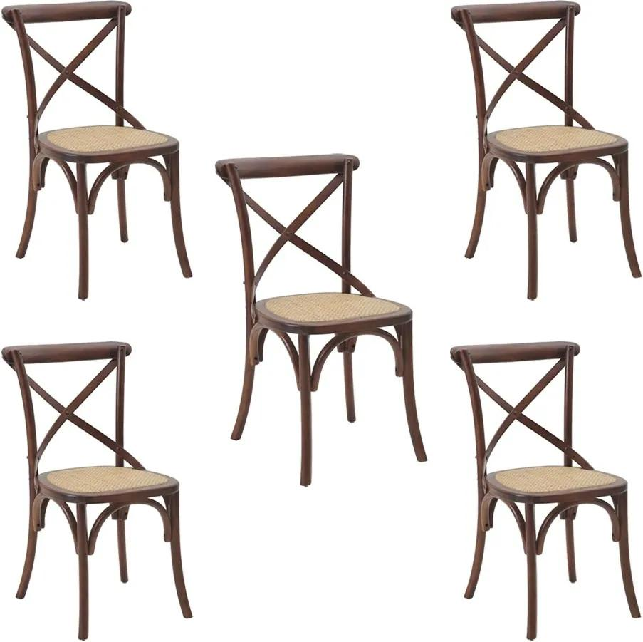 Kit 5 Cadeiras Decorativas Sala De Jantar Cozinha Danna Rattan Natural Madeira Escura- Gran Belo