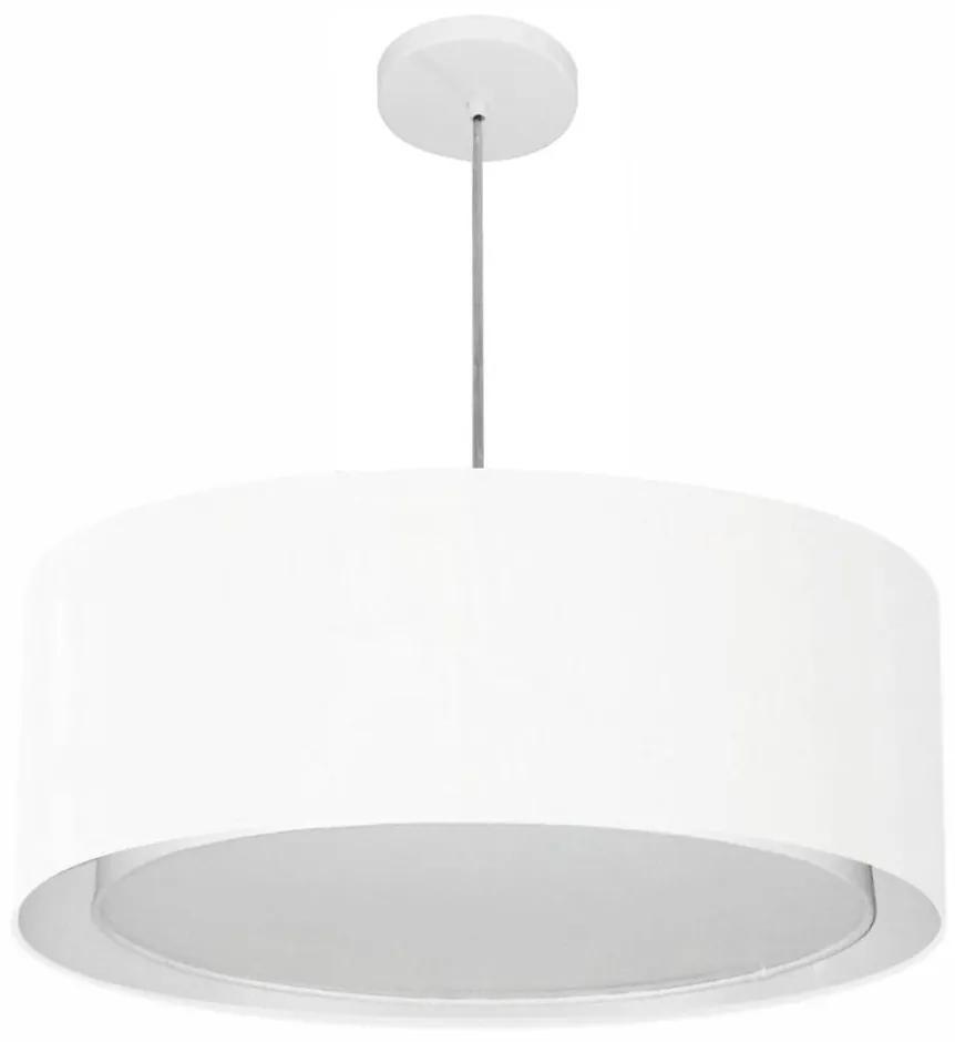 Lustre Pendente Cilíndrico Duplo Md-4297 Cúpula em Tecido 60x25cm Branco - Bivolt