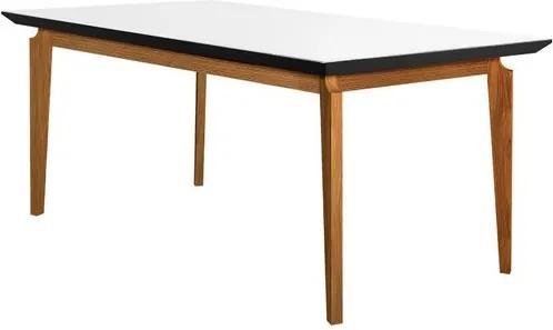 Mesa de Jantar 6 Lugares de Madeira Imbuia/Preto com Tampo de Vidro Branco 1,80m Zotz