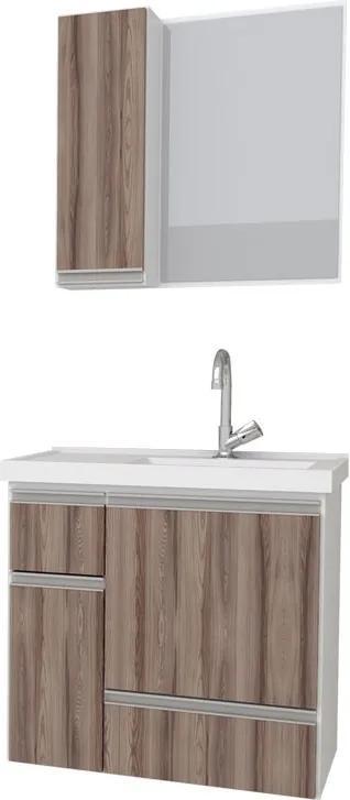 Conjunto De Banheiro Ibate 60 Suspenso Cozimax Branco/tamarindo