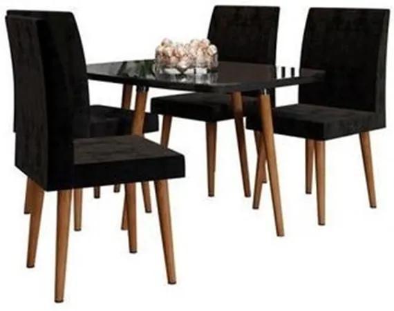 Conjunto De Jantar Jade Black Com 4 Cadeiras Jade Preto Pés Palito – RV Móveis