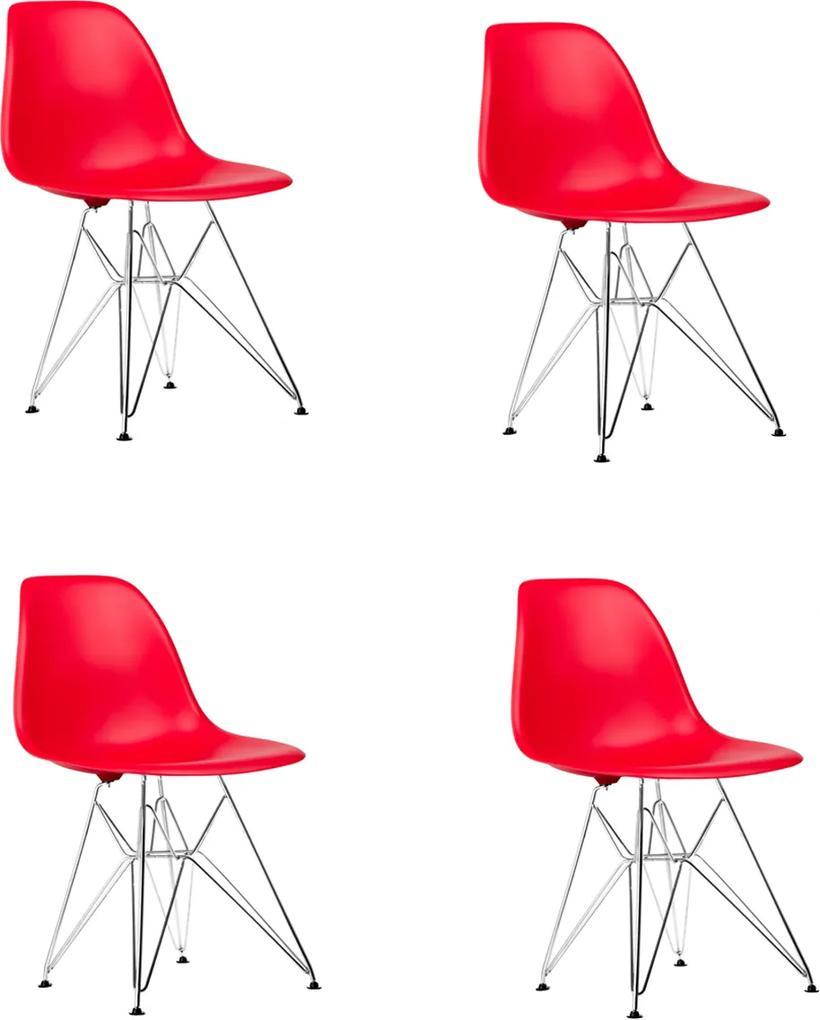 Conjunto 4 Cadeiras Eiffel Eames DSR Vermelha