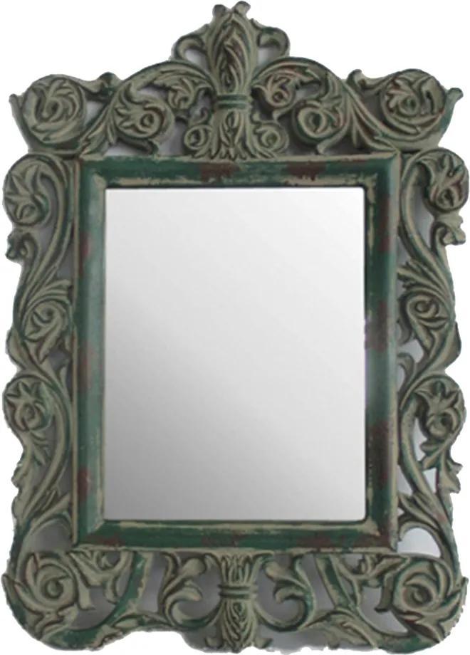 Espelho de Moldura Quadrada Clássica com Pintura Envelhecida - 45x5x30cm