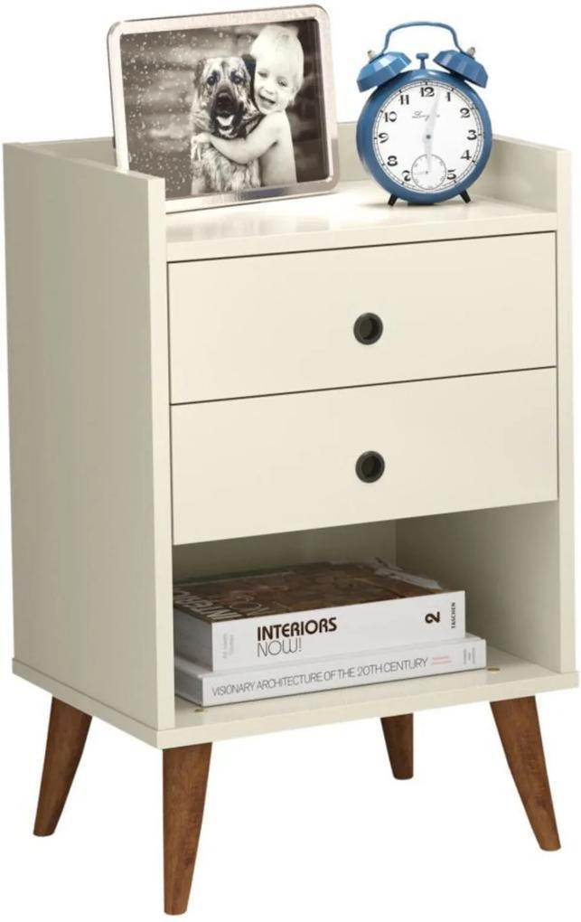 mesa de cabeceira Retrô Bento 2 Gavetas - Off White - RPM Móveis
