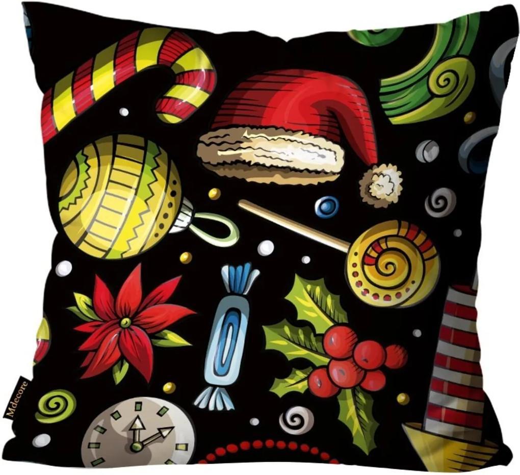 Capas para Almofada Premium Cetim Mdecore Natal Touca Papai Noel Preta 45x45cm
