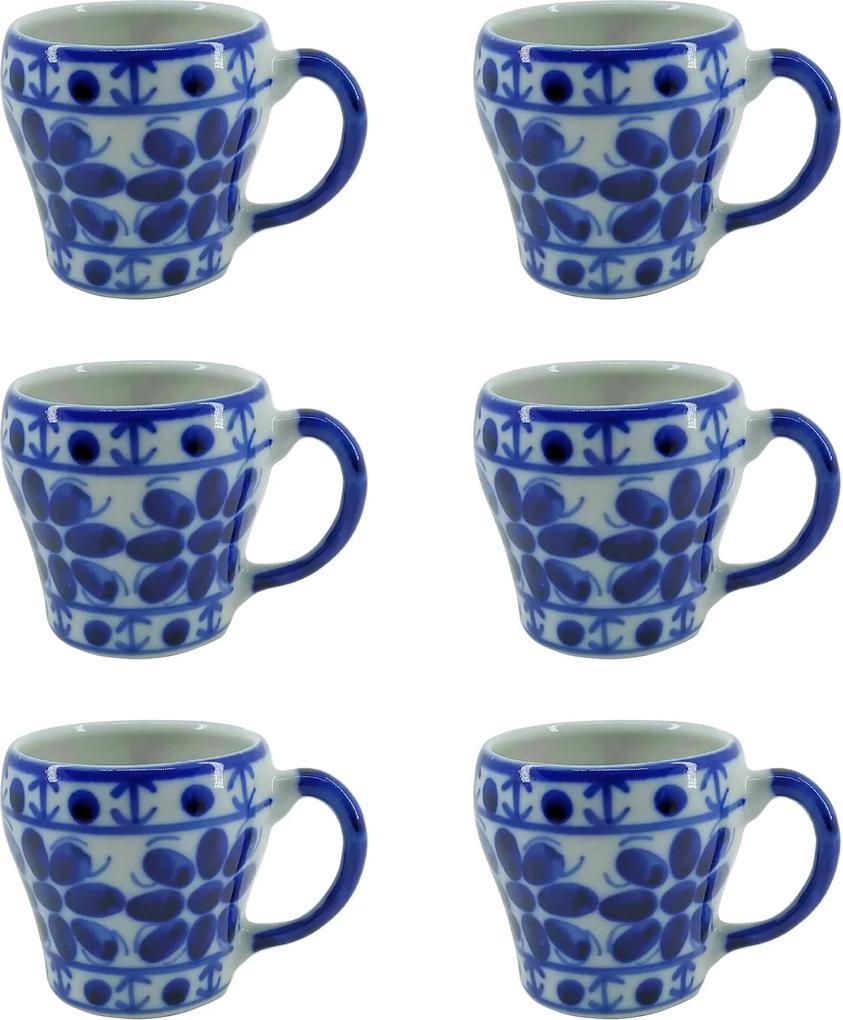 Jogo de Canecas em Porcelana Azul Colonial 6 peças