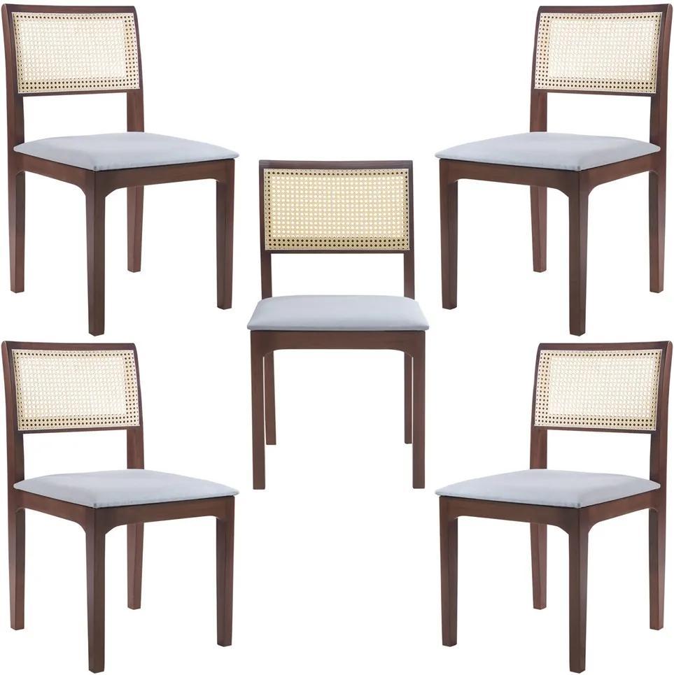Kit 5 Cadeiras Decorativa Sala de Jantar Nivea Amêndoa - Gran Belo